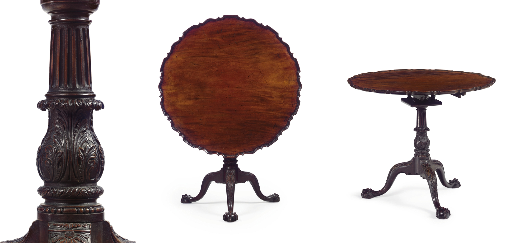 THE STEVENSON FAMILY CHIPPENDALE MAHOGANY SCALLOPED-TOP TEA TABLE