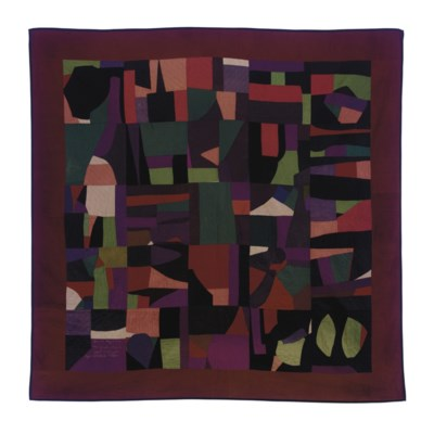 A PIECED COTTON CRAZY QUILT