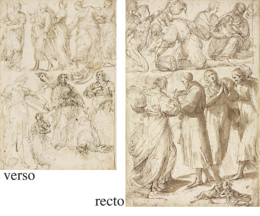 A sheet of studies of standing, seated and reclining figures and the Madonna and Child seated (recto), Saint Margaret and other figures (verso)
