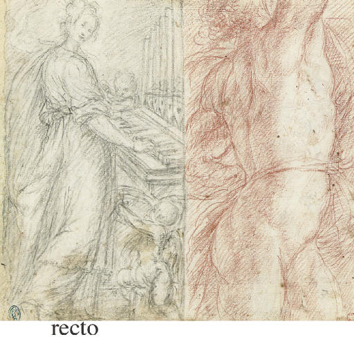 Saint Cecilia and a male nude (recto), Studies of male nudes (verso)