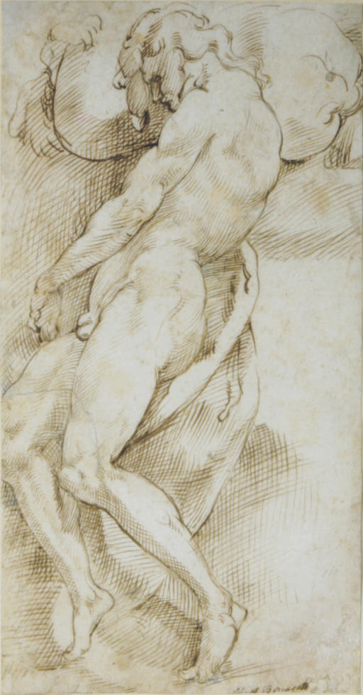 A nude man carrying a boulder