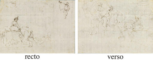 A cavalier attended by a page, and a study of a trumpeting angel (recto), A group of cavaliers (verso)