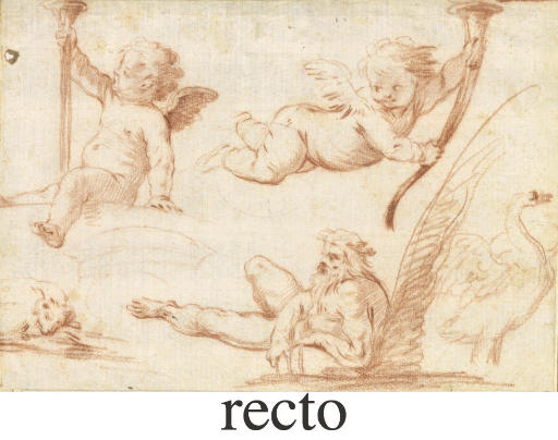 Two putti with trumpets, a river god, a mute swan and a sleeping dog (recto), A nymph scattering petals (verso)