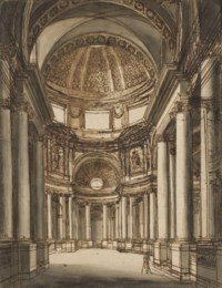 The interior of a church with a coffered dome