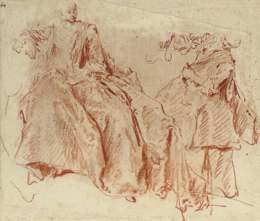 An elegant lady and a maid holding a jug (recto), A seated woman (verso)