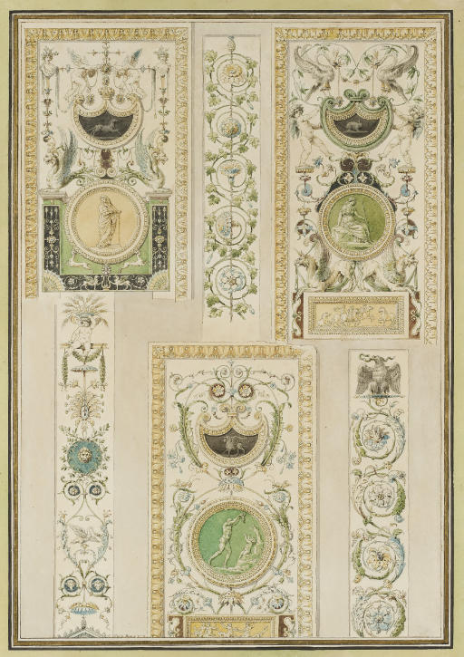 Design for an arabesque ornament wall panel with putti, animals and flowers