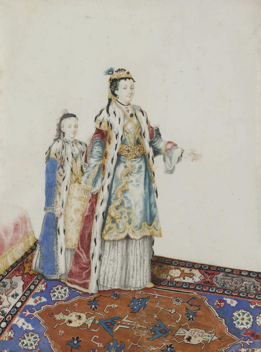 A European woman in Turkish costume with a girl behind her
