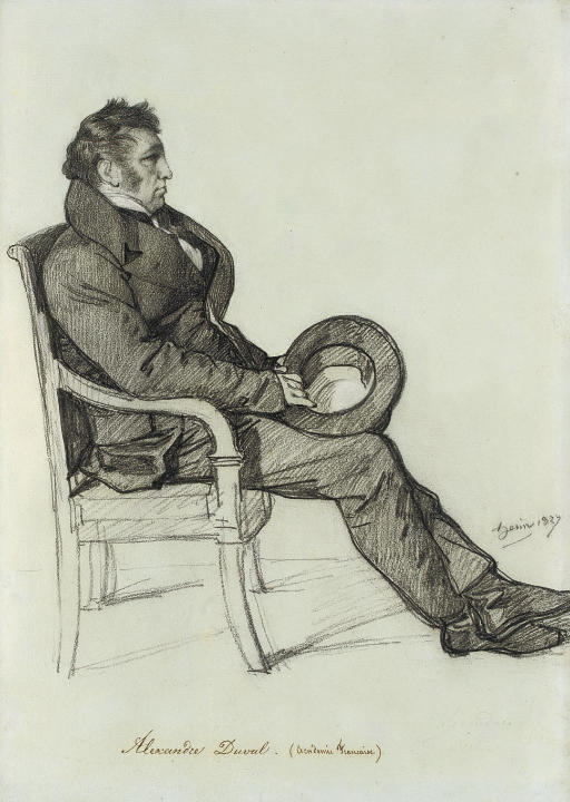 Portrait of Alexandre Duval, in profile to the right, seated in an armchair