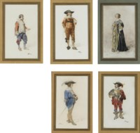 Five studies of theater costumes; and A woman weaving