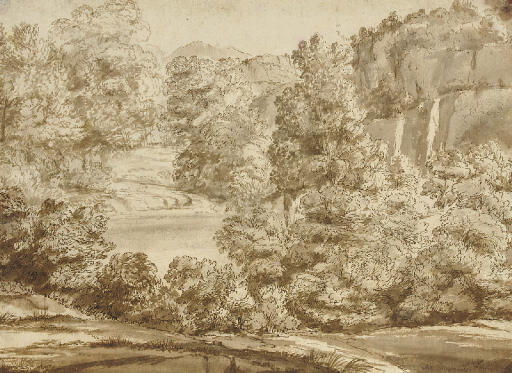 An extensive wooded river landscape