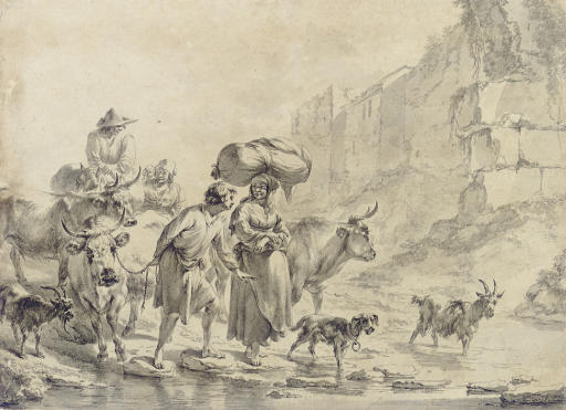 Peasants and animals fording a stream, below town walls