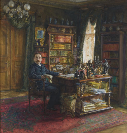 CARL MOLL (VIENNA 1861-1945) | A connoisseur in his study | 19th Century,  Drawings & Watercolors | Christie's