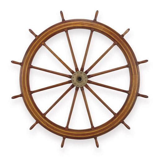 A large mahogany twelve-spoke