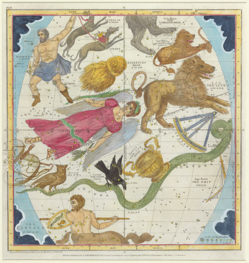 A set of six framed hand-colored celestial charts