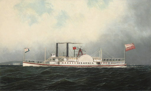 The Hudson River Day Line steamboat Armenia passing Fort Lafayette, New York Harbor