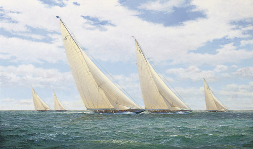 The New York Yacht Club Cruise, 1937: Yankee, Ranger and Endeavour (I) leading Rainbow and Endeavour(II), close-hauled on a windward leg
