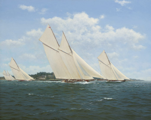Westward, Britannia, White Heather (II) and Susanne, crossing the Royal Yacht Squadron line at Cowes, 1920