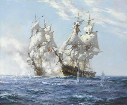 The American brig Argus engaging His Majesty's sloop  Pelican in British waters, 14th August 1813