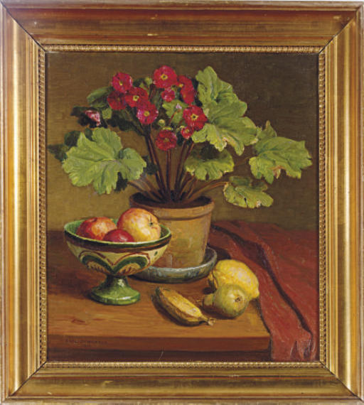 Still life of a pot of primula and fruit on a table