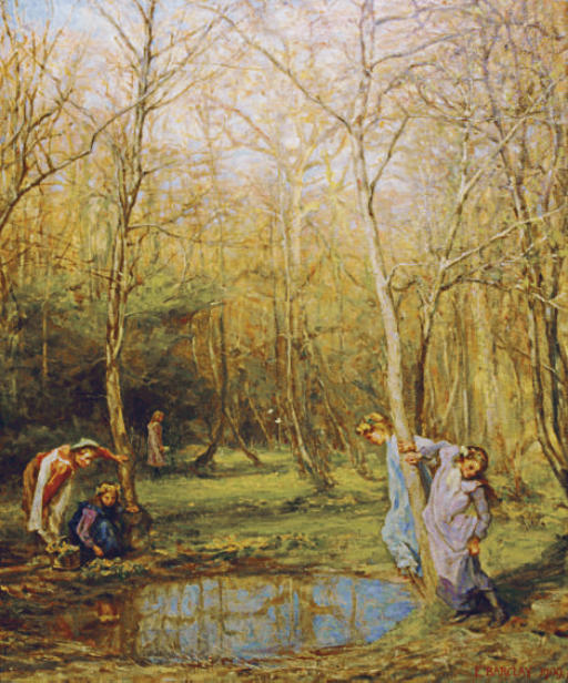 Kingcups: Girls in a forest in springtime
