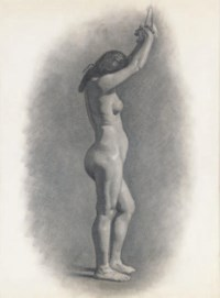 Study of a female nude; together with a companion drawing and a companion painting