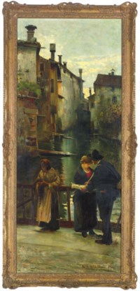 Figures on a bridge over a canal
