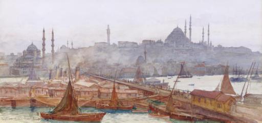 A View of the Galata Bridge, Yemi Cami, Beyazit Tower and Süleymaniye Mosque, Constantinople