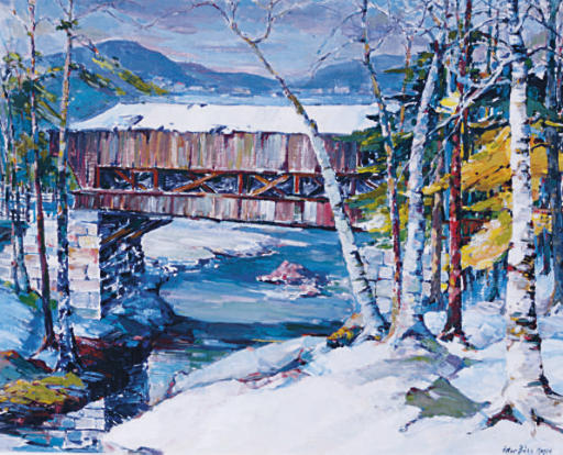 Vermont winter landscape with wooden covered bridge