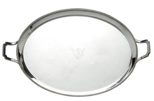 AN ENGLISH SILVER-PLATED TWO-HANDLED TRAY,