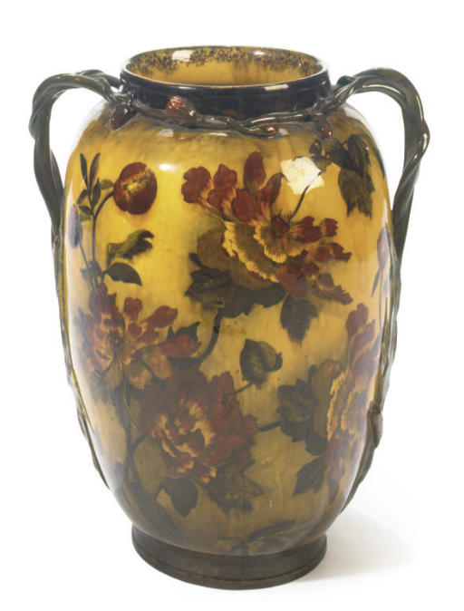A LARGE ENGLISH MADRAS WARE TWO-HANDLED VASE PAINTED WITH PEONIES AND BULRUSHES,