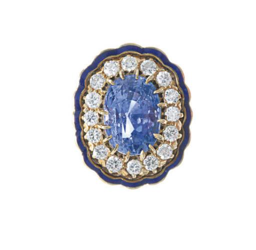 A SAPPHIRE, DIAMOND, ENAMEL AN