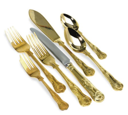 A GILT-PLATED PART FLATWARE SE