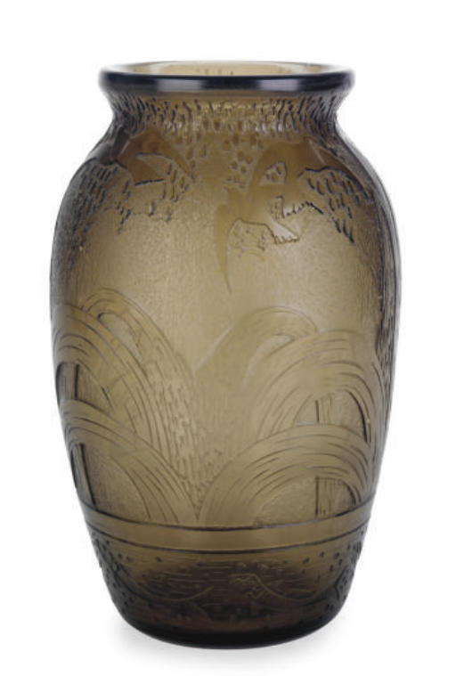 A FRENCH ACID-ETCHED GLASS VAS