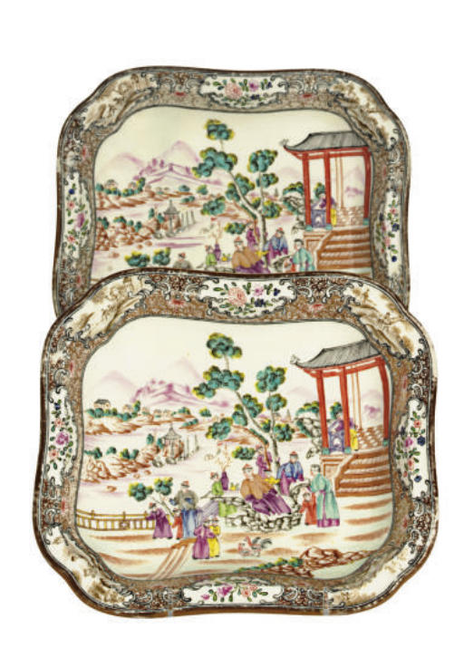 A PAIR OF ENGLISH PORCELAIN CH