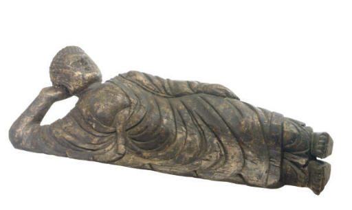 A GILTWOOD FIGURE OF RECLINING