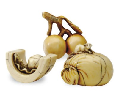 THREE JAPANESE IVORY NETSUKE,*