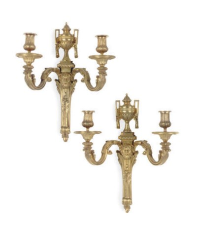 A PAIR OF GILT-BRONZE TWO-BRAN