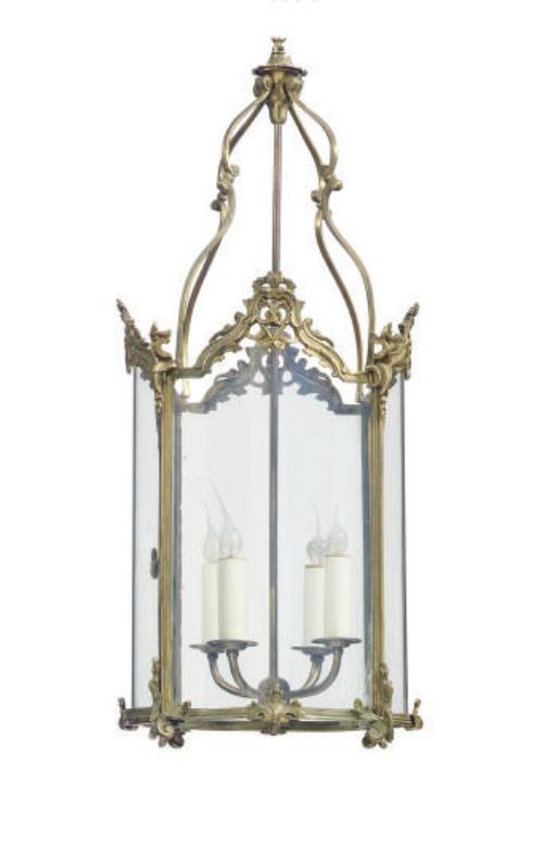 A GILT-METAL AND GLASS FOUR-LIGHT HANGING LANTERN,