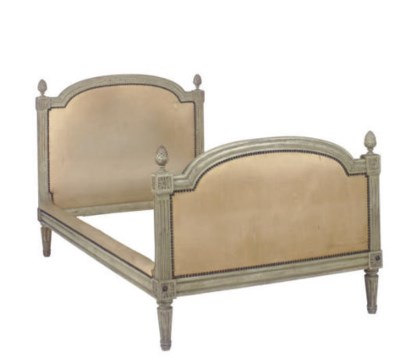 A FRENCH GREY-PAINTED BED FRAM