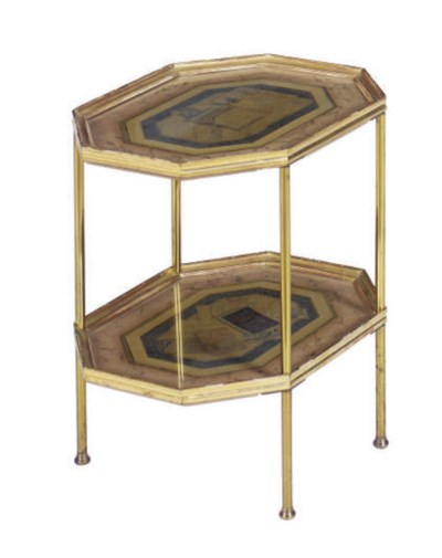 A GILTWOOD AND BRASS OCTAGONAL