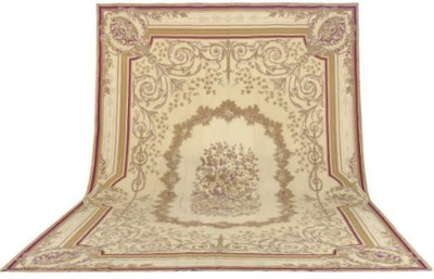 AN AUBUSSON STYLE NEEDLEPOINT