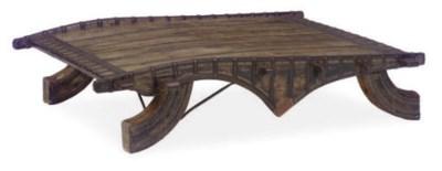 A METAL-MOUNTED HARDWOOD LOW T