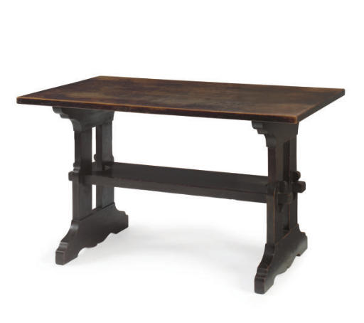 AN OAK TRESTLE TABLE,
