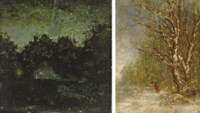 Night; and Winter Forest Scene with Woodcutter: Two Works