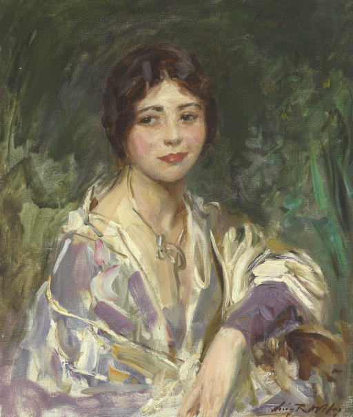 Woman in Purple and White