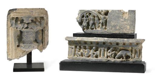 Three gray schist relief fragm