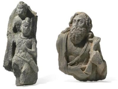 Two gray schist reliefs of Mar