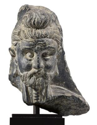 A rare gray schist head of the