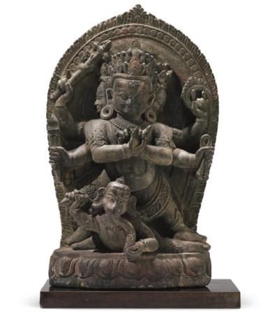 A rare stone stele of Vishnant