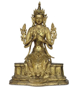 A gilt bronze figure of Maitre